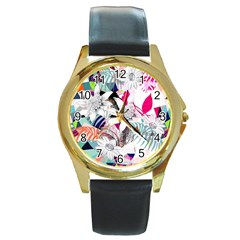 Flower Graphic Pattern Floral Round Gold Metal Watch by Mariart