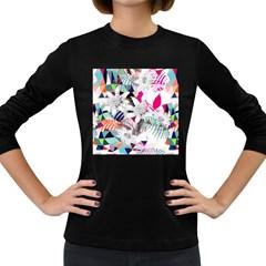 Flower Graphic Pattern Floral Women s Long Sleeve Dark T Shirts