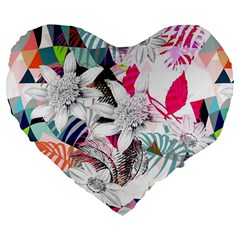 Flower Graphic Pattern Floral Large 19  Premium Flano Heart Shape Cushions by Mariart