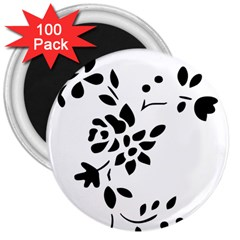 Flower Rose Black Sexy 3  Magnets (100 Pack) by Mariart
