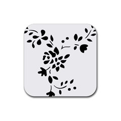 Flower Rose Black Sexy Rubber Square Coaster (4 Pack)  by Mariart