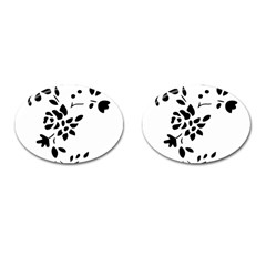 Flower Rose Black Sexy Cufflinks (oval) by Mariart