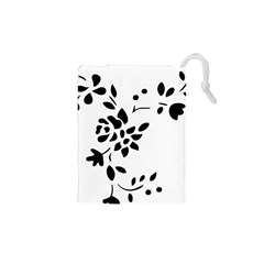 Flower Rose Black Sexy Drawstring Pouches (xs)  by Mariart