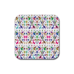 Birds Fish Flowers Floral Star Blue White Sexy Animals Beauty Rainbow Pink Purple Blue Green Orange Rubber Square Coaster (4 Pack)  by Mariart