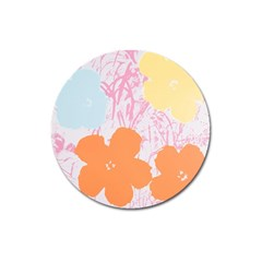 Flower Sunflower Floral Pink Orange Beauty Blue Yellow Magnet 3  (round) by Mariart