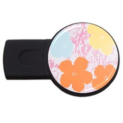 Flower Sunflower Floral Pink Orange Beauty Blue Yellow Usb Flash Drive Round (4 Gb) by Mariart