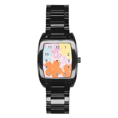 Flower Sunflower Floral Pink Orange Beauty Blue Yellow Stainless Steel Barrel Watch by Mariart