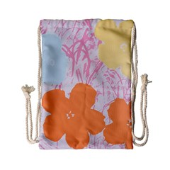 Flower Sunflower Floral Pink Orange Beauty Blue Yellow Drawstring Bag (small) by Mariart