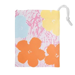 Flower Sunflower Floral Pink Orange Beauty Blue Yellow Drawstring Pouches (extra Large) by Mariart