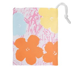 Flower Sunflower Floral Pink Orange Beauty Blue Yellow Drawstring Pouches (xxl) by Mariart