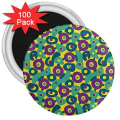 Discrete State Turing Pattern Polka Dots Green Purple Yellow Rainbow Sexy Beauty 3  Magnets (100 Pack) by Mariart