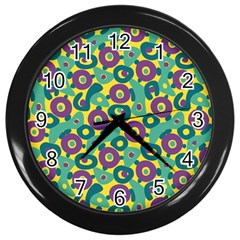 Discrete State Turing Pattern Polka Dots Green Purple Yellow Rainbow Sexy Beauty Wall Clocks (black) by Mariart