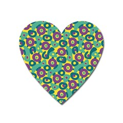 Discrete State Turing Pattern Polka Dots Green Purple Yellow Rainbow Sexy Beauty Heart Magnet by Mariart