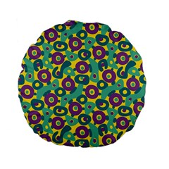 Discrete State Turing Pattern Polka Dots Green Purple Yellow Rainbow Sexy Beauty Standard 15  Premium Flano Round Cushions by Mariart
