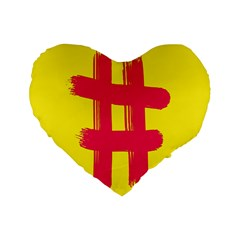 Fun Ain t Gone Fence Sign Red Yellow Flag Standard 16  Premium Flano Heart Shape Cushions by Mariart