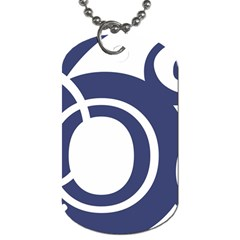 Garamond Blue White Wave Chevron Dog Tag (two Sides) by Mariart