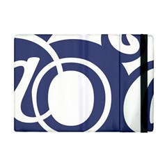 Garamond Blue White Wave Chevron Apple Ipad Mini Flip Case by Mariart