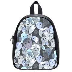 Ghosts Blue Sinister Helloween Face Mask School Bag (small) by Mariart