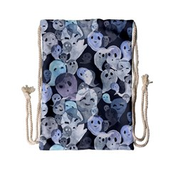 Ghosts Blue Sinister Helloween Face Mask Drawstring Bag (small) by Mariart