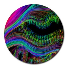 Aurora Wave Colorful Space Line Light Neon Visual Cortex Plate Round Mousepads by Mariart