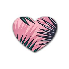 Graciela Detail Petticoat Palm Pink Green Heart Coaster (4 Pack)  by Mariart