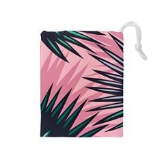 Graciela Detail Petticoat Palm Pink Green Drawstring Pouches (medium)  by Mariart
