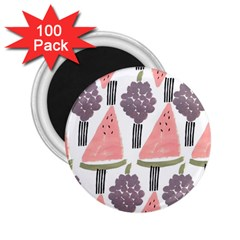 Grapes Watermelon Fruit Patterns Bouffants Broken Hearts 2 25  Magnets (100 Pack)  by Mariart