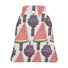 Grapes Watermelon Fruit Patterns Bouffants Broken Hearts Bell Ornament (two Sides) by Mariart