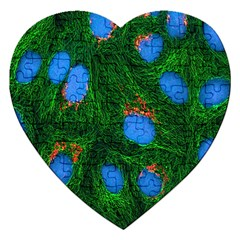 Fluorescence Microscopy Green Blue Jigsaw Puzzle (heart) by Mariart