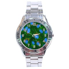 Fluorescence Microscopy Green Blue Stainless Steel Analogue Watch by Mariart