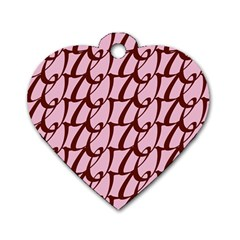 Letter Font Zapfino Appear Dog Tag Heart (two Sides) by Mariart