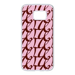 Letter Font Zapfino Appear Samsung Galaxy S7 Edge White Seamless Case by Mariart