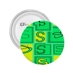 Letter Huruf S Sign Green Yellow 2 25  Buttons by Mariart