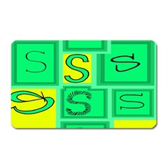 Letter Huruf S Sign Green Yellow Magnet (rectangular) by Mariart