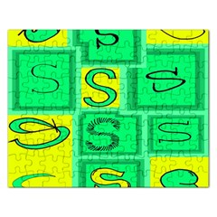 Letter Huruf S Sign Green Yellow Rectangular Jigsaw Puzzl by Mariart