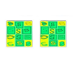 Letter Huruf S Sign Green Yellow Cufflinks (square) by Mariart