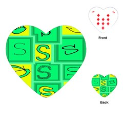 Letter Huruf S Sign Green Yellow Playing Cards (heart)  by Mariart