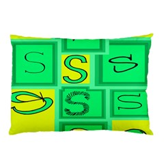 Letter Huruf S Sign Green Yellow Pillow Case by Mariart