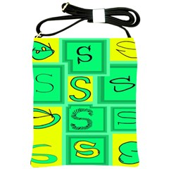Letter Huruf S Sign Green Yellow Shoulder Sling Bags by Mariart