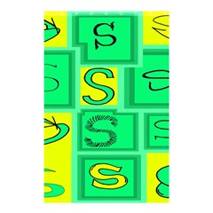 Letter Huruf S Sign Green Yellow Shower Curtain 48  X 72  (small)  by Mariart