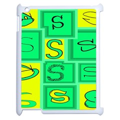 Letter Huruf S Sign Green Yellow Apple Ipad 2 Case (white) by Mariart