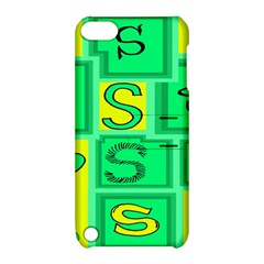 Letter Huruf S Sign Green Yellow Apple Ipod Touch 5 Hardshell Case With Stand by Mariart
