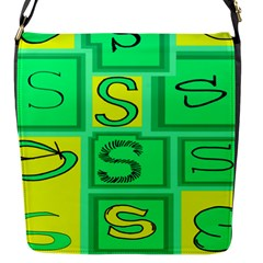 Letter Huruf S Sign Green Yellow Flap Messenger Bag (s) by Mariart