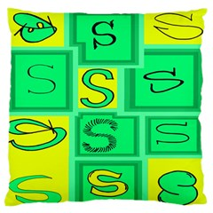 Letter Huruf S Sign Green Yellow Standard Flano Cushion Case (one Side) by Mariart