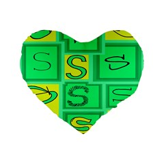 Letter Huruf S Sign Green Yellow Standard 16  Premium Flano Heart Shape Cushions by Mariart