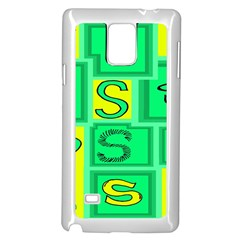 Letter Huruf S Sign Green Yellow Samsung Galaxy Note 4 Case (white) by Mariart