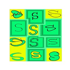 Letter Huruf S Sign Green Yellow Small Satin Scarf (square) by Mariart