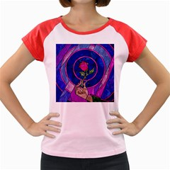 Enchanted Rose Stained Glass Women s Cap Sleeve T Shirt by Onesevenart