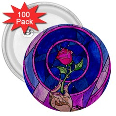 Enchanted Rose Stained Glass 3  Buttons (100 Pack)  by Onesevenart