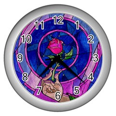 Enchanted Rose Stained Glass Wall Clocks (silver)  by Onesevenart